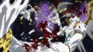 Genau wie im Videospiel geht es auch in den Actionszenen des Anime blutig vonstatten (Copyright: Universum Film)