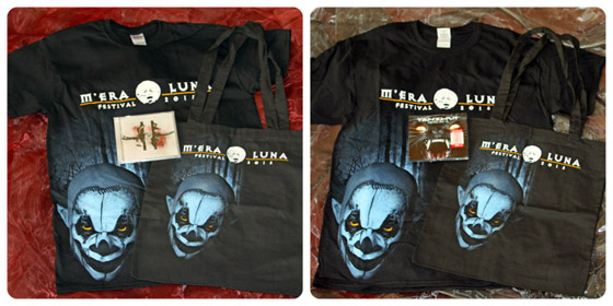 "Die M'era Luna Fan-Packages. Links: Package ""Medium"" / Rechts: Package ""Large"""