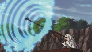 Chaikas kanalisiert und feuert ihre Magie durch ein Scharfschützengewehr. Die CGI-Effekte erledigen den Rest (Copyright: 2014 Ichiro Sakaki, Namaniku ATK (Nitroplus)/PUBLISHED BY KADOKAWA Fujimishobo/Chaika Partner)