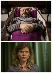 Erst als toter Mann ein guter Mann? Goedele (Inge Paulussen) hat es zu seinen Lebzeiten nicht immer einfach mit Jean-Claude (Dirk Roofthooft). (Copyright: Edel:Motion)
