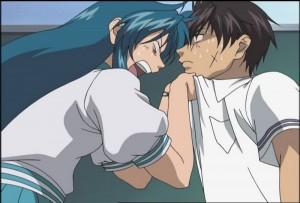 "In ""FUMOFFU"" hat Kaname Chidori alle Hände voll zu tun, vorallem mit Sousuke Sagara (Copyright: Shouji Gatou – Shikidouji / MITHRIL)"