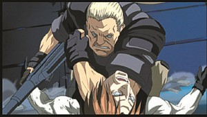 Es geht zur Sache: Vollcyborg Batou wirft sich in den Nahkampf. (Copyright: 2002-2005 Shirow Masamune-Production I.G/KODANSHA)