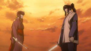Die Liebe von Oboro (links) und Gennosuke (rechts) wird auf eine harte Probe gestellt. (Copyright: 2005 FUTARO YAMADA · MASAKI SEGAWA · KODANSHA/GONZO. All Rights Reserved.)
